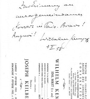 "Kempff's signature on the concert brochure after the concert in Champs-Elysées: ""Für Idil. Zur Erinnerung an unser gemeinsames Konzert in Paris. Bravo! Auguri! Wilhelm Kempff 7.2.1953″ [English: For Idil. In remembrance of our common concert in Paris. Bravo! Auguri!]"