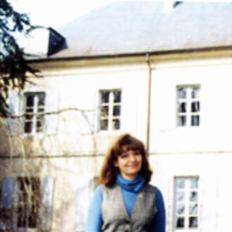 İdil Biret, at George Sand's house, 1999, Nohant, France. The third window from the left is the room Chopin stayed in. Photo - Şefik Yüksel