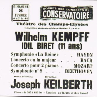 Poster announcing the 7 - 8 February 1953 concert of Kempff and Biret in Champs-Elysées